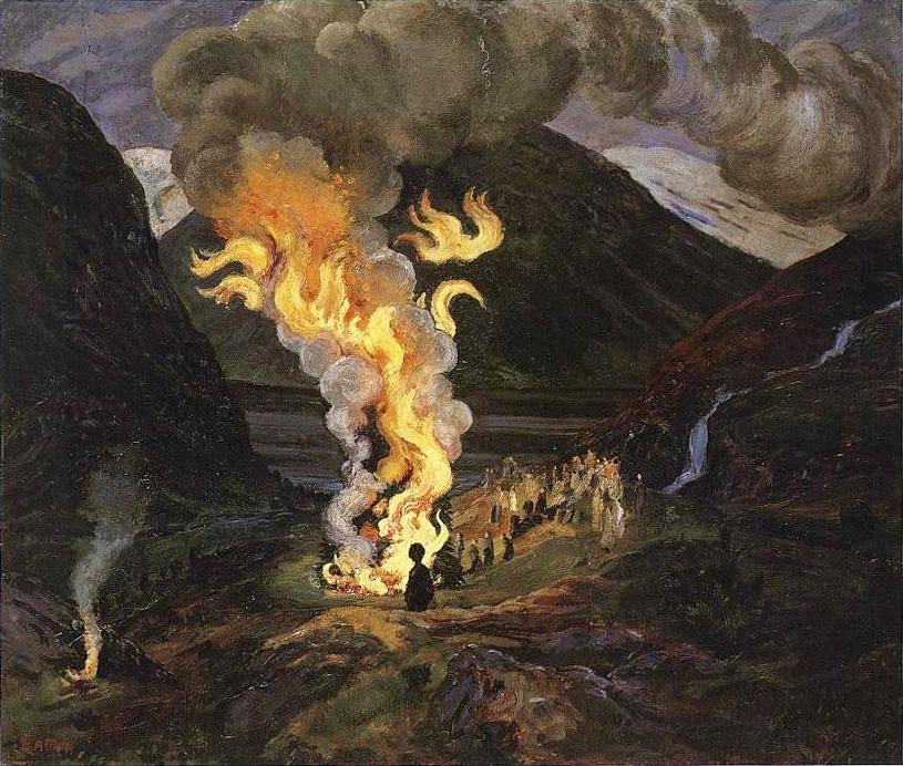 Jónsmessunæturbrenna, málverk eftir Norska málarann Nikolai Astrup (1880 – 1928)
