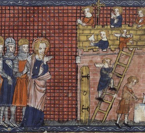 Heilagur Valentínus frá Terni fylgist með byggingu kirkju sinnar í Terni